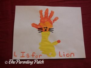 Completed L Is for Lion Handprint and Footprint Craft
