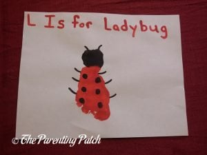 Completed L Is for Ladybug Footprint Craft