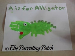 A Is for Alligator Handprint Craft 1