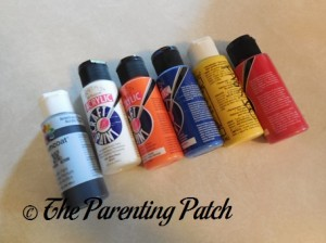 Black, White, Orange, Blue, Yellow, and Red Acrylic Paint