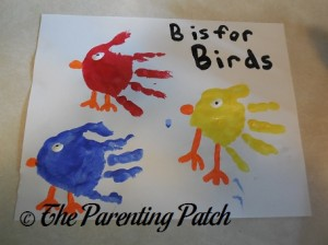 Finished B Is for Birds Handprint Craft