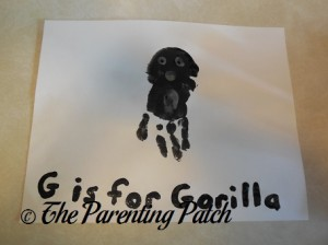Finished G Is for Gorilla Handprint Craft