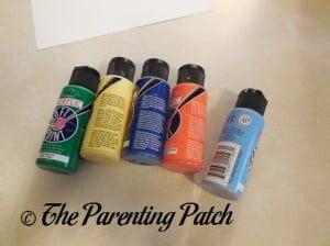 Green, Yellow, Dark Blue, Orange, and Light Blue Acrylic Paint