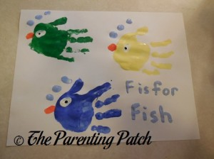 Finished F Is for Fish Handprint Craft