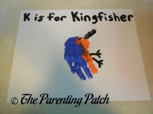 Finished K Is for Kingfisher Handprint Craft