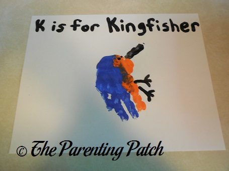 K Is for Kingfisher Handprint Craft