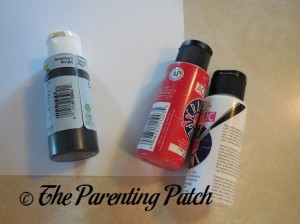 Black, Red, and White Acrylic Paint