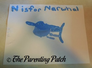 Finished N Is for Narwhal Handprint Craft