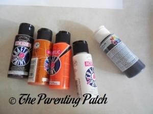 Dark Brown, Light Brown, Orange, White, and Black Acrylic Paint
