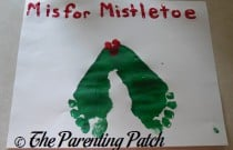 M Is for Mistletoe Footprint Craft (Day 14 of 25 Days of Christmas)