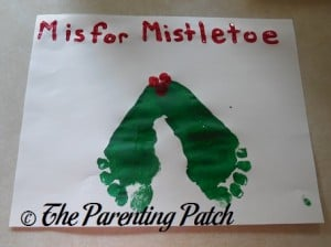 Finished M Is for Mistletoe Footprint Craft