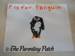 Finished P Is for Penguin Handprint Craft