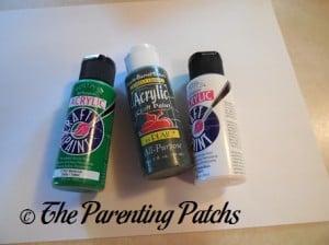 Green, Dark Green, and White Acrylic Paint