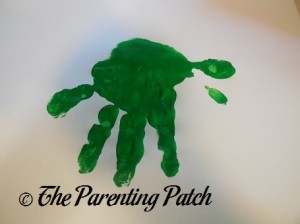 Green Handprint with Fingers Open