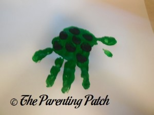 Adding Dark Green Fingertip Prints to the Green Handprint