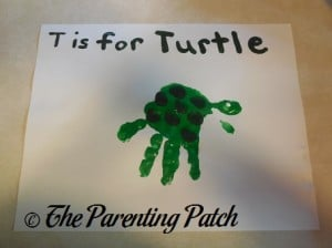 Finished T Is for Turtle Handprint Craft
