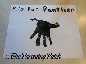 Finished P Is for Panther Handprint Craft