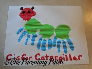 Finished C Is for Caterpillar Handprint Craft