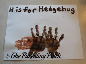 Finished H Is for Hedgehog Handprint Craft