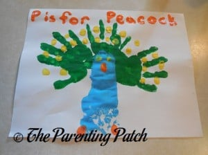 Finished P Is for Peacock Handprint-Footprint Craft