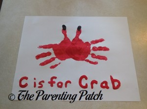 Finished C Is for Crab Handprint Craft