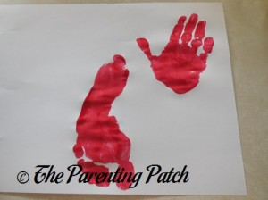 One Red Footprint and One Red Handprint