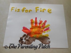Finished F Is for Fire Handprint-Footprint Craft