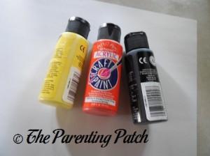 Yellow, Orange, and Black Acrylic Paint