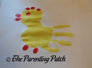 Adding Red Fingertip Prints to the Yellow Handprint and Palm Print