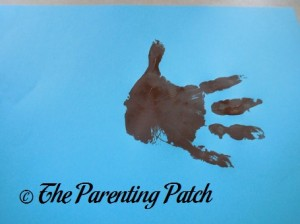 One Brown Handprint with Fingers Open