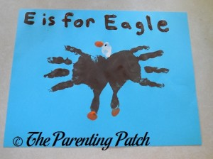 Finished E Is for Eagle Handprint Craft