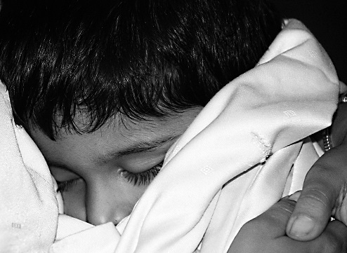 Sleeping Child in Black and White