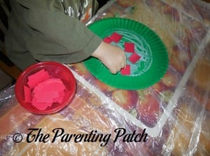 Attaching Red Paper Squares to the Green Paper Plate