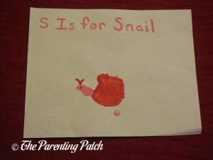 Completed S Is for Snail Craft