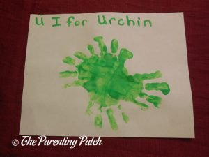 Completed U Is for Urchin Handprint Craft