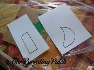 Drawing the Rectangle and Crescent Moon on the Blank Paper