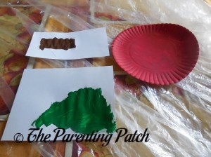 Allowing the Red, Brown, and Green Paint to Dry