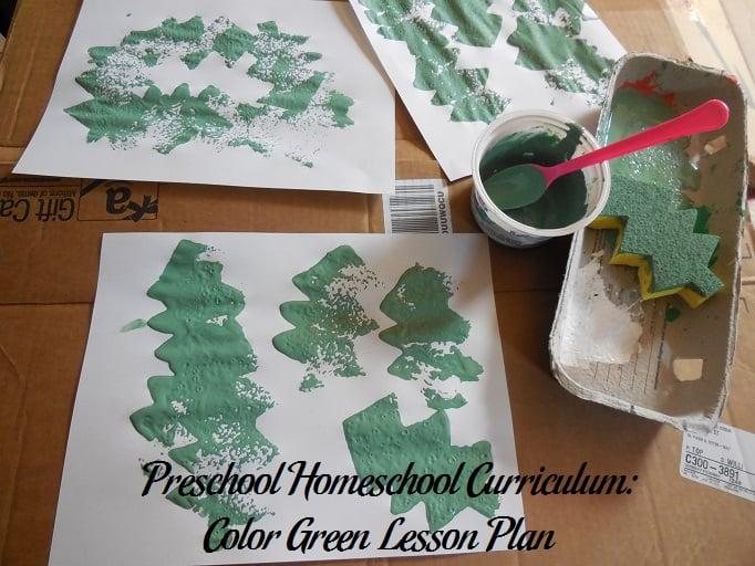 Preschool Homeschool Curriculum Color Green Lesson Plan