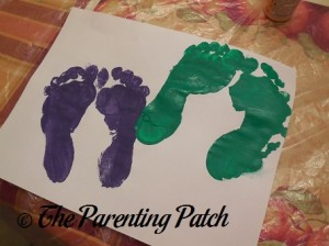 Two Purple Footprints and Two Green Footprints