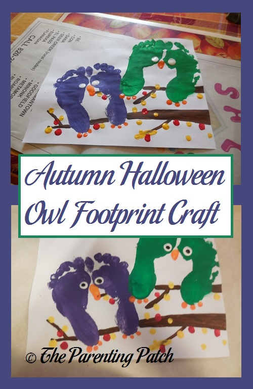 Autumn Halloween Owl Footprint Craft