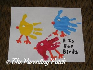 Completed B Is for Birds Handprint Craft