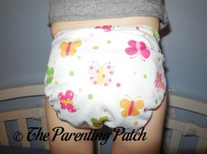 Back of Imagine One-Size Bamboo All-in-One Cloth Diaper on Toddler
