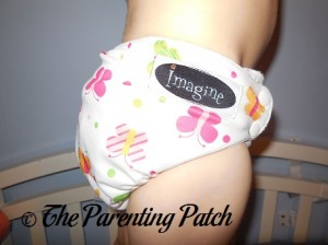 Side of Imagine One-Size Bamboo All-in-One Cloth Diaper on Toddler