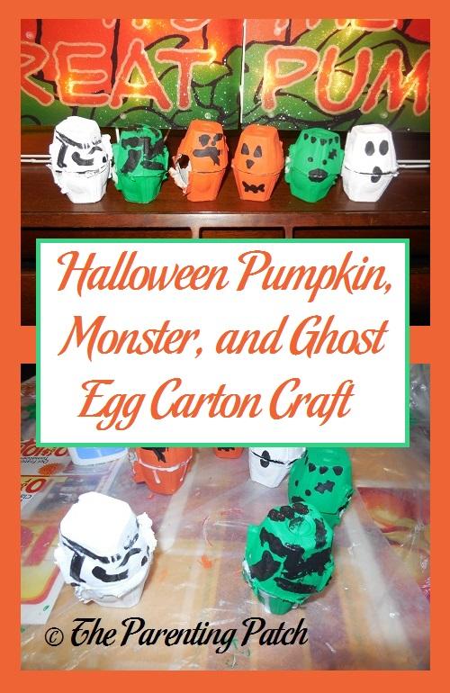Halloween Pumpkin, Monster, and Ghost Egg Carton Craft