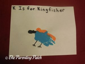 Completed K Is for Kingfisher Handprint Craft