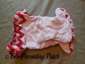 Inside of Candy Cane Chevron Nicki's Diapers One-Size Bamboo All-in-One Cloth Diaper