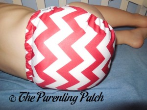 Bottom of Candy Cane Chevron Nicki's Diapers One-Size Bamboo All-in-One Cloth Diaper on Toddler