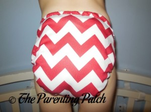 Back of Candy Cane Chevron Nicki's Diapers One-Size Bamboo All-in-One Cloth Diaper on Toddler