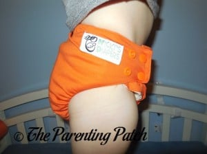 Side of Dreamsicle Nicki's Diapers One-Size Bamboo All-in-One Cloth Diaper on Toddler