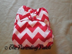 Front of Candy Cane Chevron Nicki's Diapers One-Size Bamboo All-in-One Cloth Diaper